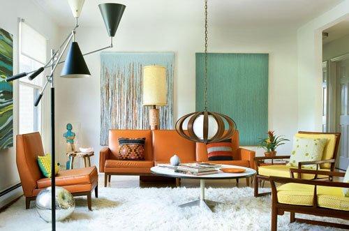 woonkamer interieur ideëen met oranje 3