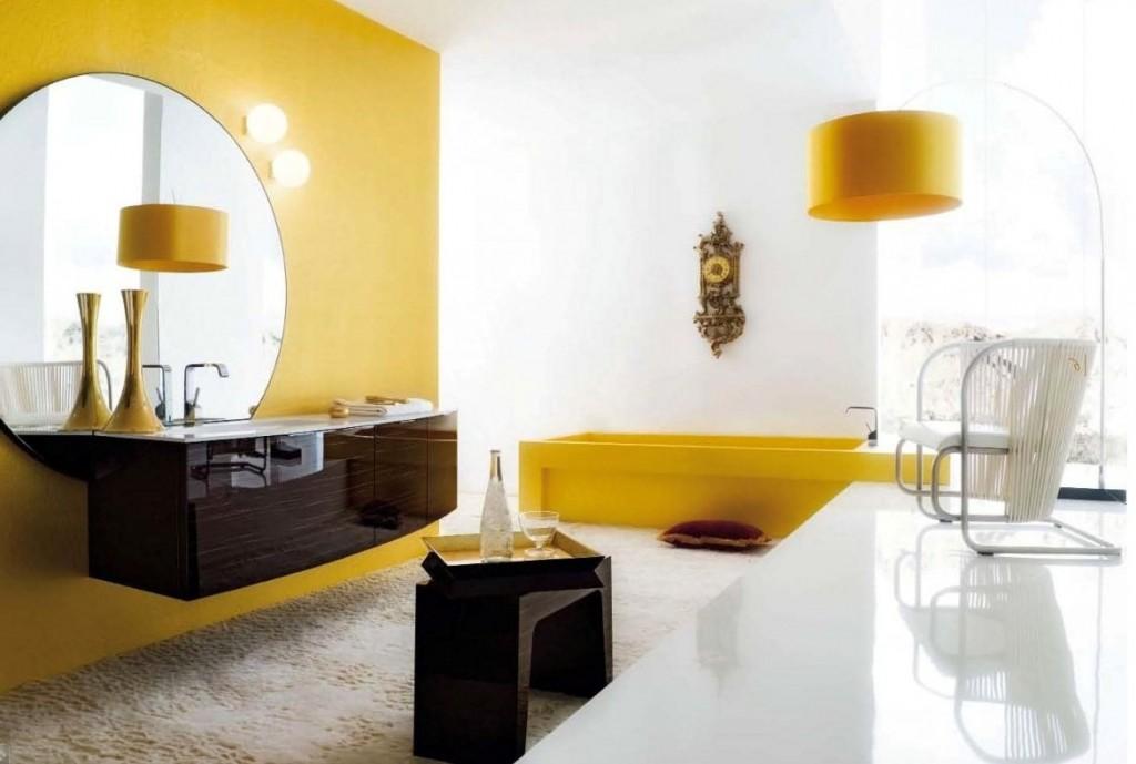 Interieurinspiratie gele woon en badkameraccessoires for Yellow and green bathroom ideas