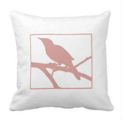 "kussen ""Bird"" wit/roze"