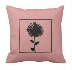 "kussen ""Flower"" roze/zwart"