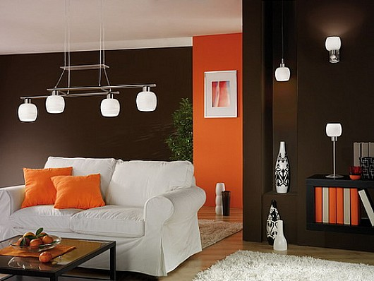 woonkamer interieur ideëen met oranje 4