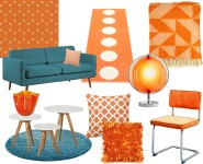 interieur met oranje en turquoise