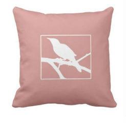 "kussen ""Bird"" roze/wit"
