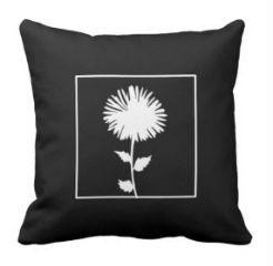 """kussen """"Flower"""" zwart/wit"""