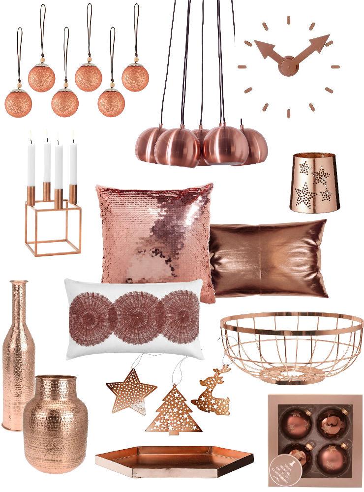rosé en koper kerstdecoratie en woonaccessoires