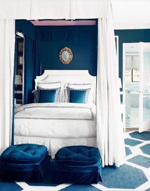 slaapkamer inspiratie donkerblauw fluweel